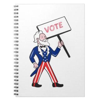 Uncle Sam Placard Vote Standing Cartoon Notebooks