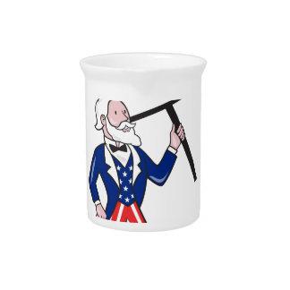 Uncle Sam Placard Vote Standing Cartoon Pitcher