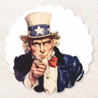 Uncle Sam Pointing Finger Paper Coaster
