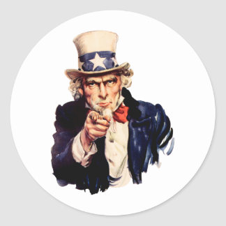 Uncle Sam Pointing His Finger Classic Round Sticker