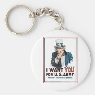 Uncle Sam Poster, America. I Want You For... Basic Round Button Keychain