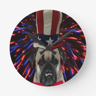 Uncle Sam Pug Clock