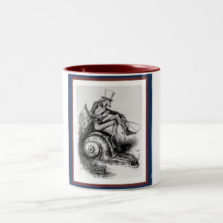 Uncle Sam Riding the Congressional Snail Two-Tone Coffee Mug