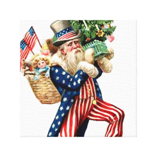 Uncle Sam Santa Claus Christmas Wrapped Canvas Art Stretched Canvas Print