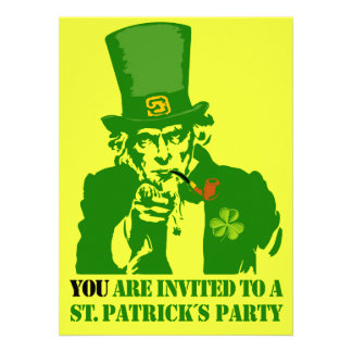 Uncle Sam St Patrick´s Day Party Custom Invites