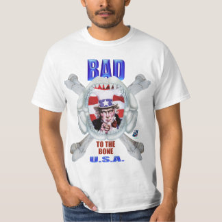Uncle Sam T Shirt Bad To The Bone - White Only