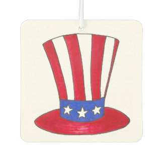 Uncle Sam Top Hat July 4th USA Patriotic Red Blue Air Freshener
