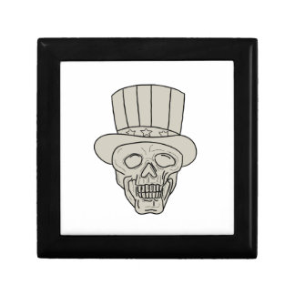Uncle Sam Top Hat Skull Drawing Gift Box