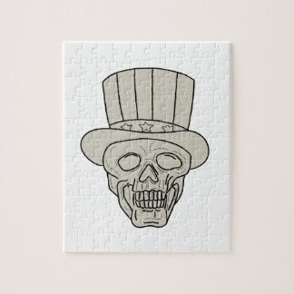 Uncle Sam Top Hat Skull Drawing Jigsaw Puzzle