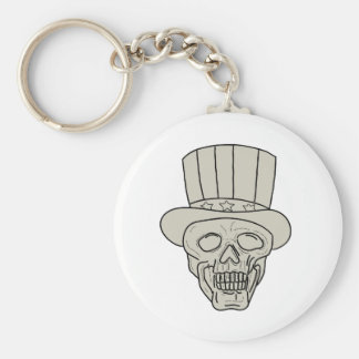 Uncle Sam Top Hat Skull Drawing Keychain