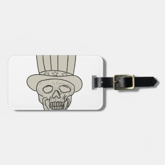 Uncle Sam Top Hat Skull Drawing Luggage Tag