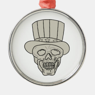Uncle Sam Top Hat Skull Drawing Metal Ornament