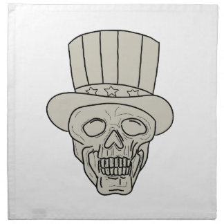 Uncle Sam Top Hat Skull Drawing Napkin