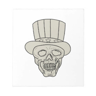 Uncle Sam Top Hat Skull Drawing Notepad
