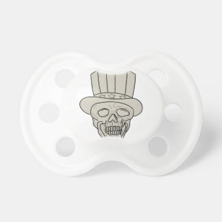 Uncle Sam Top Hat Skull Drawing Pacifier