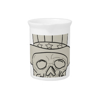 Uncle Sam Top Hat Skull Drawing Pitcher
