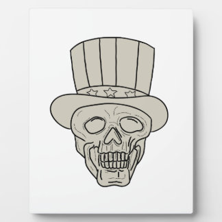 Uncle Sam Top Hat Skull Drawing Plaque