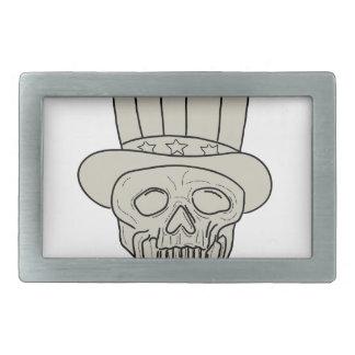 Uncle Sam Top Hat Skull Drawing Rectangular Belt Buckles