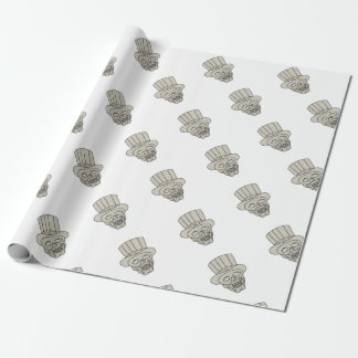 Uncle Sam Top Hat Skull Drawing Wrapping Paper