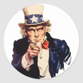Uncle Sam Vector Classic Round Sticker