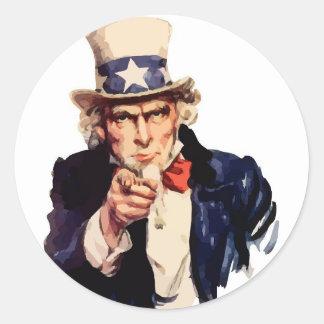 Uncle Sam Vector Round Sticker