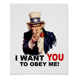 Uncle Sam WANT YOU OBEY ME Print
