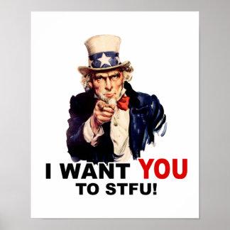 Uncle Sam WANT YOU stfu Print