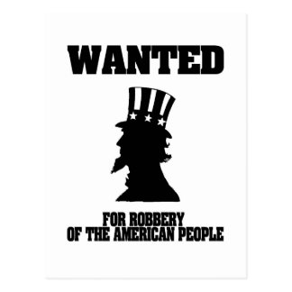 Uncle Sam Wanted For Robbery Postcard