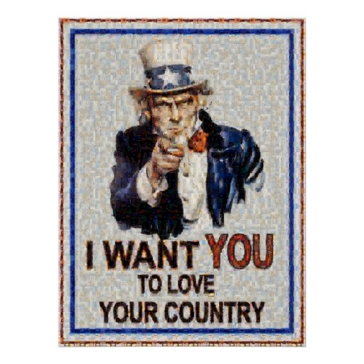 Uncle Sam Wants You Mosiac (Made from 3000 photos) Posters