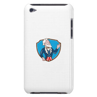 Uncle Sam Waving Hand Crest Cartoon iPod Case-Mate Case