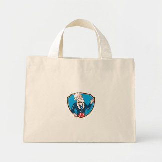 Uncle Sam Waving Hand Crest Cartoon Mini Tote Bag