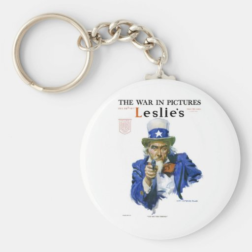 Uncle Sam with a GUN 1917 James Montgomery Flagg Key Chain