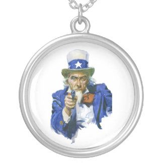 Uncle Sam with a GUN 1917 James Montgomery Flagg Silver Plated Necklace