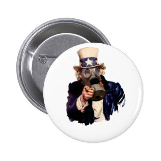 Uncle Sam - With Gas Mask!  Zombie Apocalypse! 2 Inch Round Button