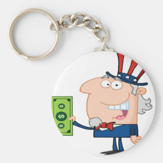 Uncle Sam With Holding A Dollar Bill Keychain