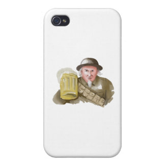 Uncle Sam WW1 Soldier Toasting Beer Watercolor iPhone 4/4S Cases
