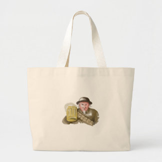 Uncle Sam WW1 Soldier Toasting Beer Watercolor Large Tote Bag