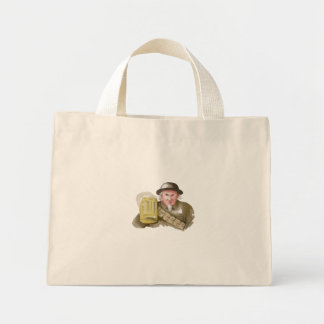 Uncle Sam WW1 Soldier Toasting Beer Watercolor Mini Tote Bag