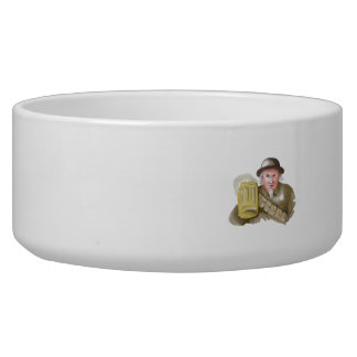 Uncle Sam WW1 Soldier Toasting Beer Watercolor Pet Water Bowls
