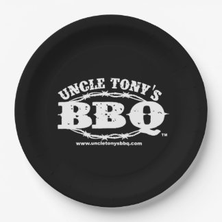 Uncle Tony's BBQ Paper Plates with Logo 9 Inch Paper Plate
