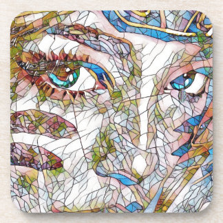 Uncommon Artistic Stained Glass Facial Features Coaster