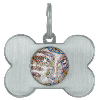 Uncommon Artistic Stained Glass Facial Features Pet Tag