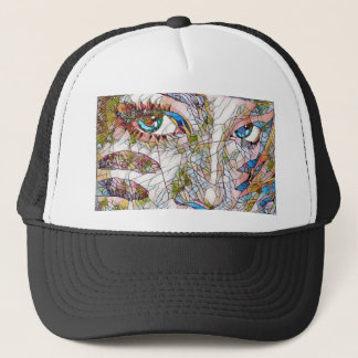 Uncommon Artistic Stained Glass Facial Features Trucker Hat