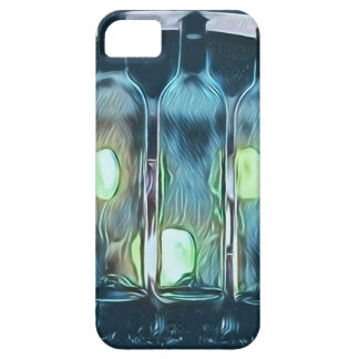 Uncommon Blue Classy Chic Artistic Wine Bottles iPhone 5 Cover