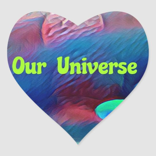 Uncommon Bright Rainbow Our Universe Abstract Heart Sticker