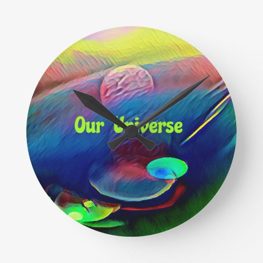 Uncommon Bright Rainbow Our Universe Abstract Round Clock
