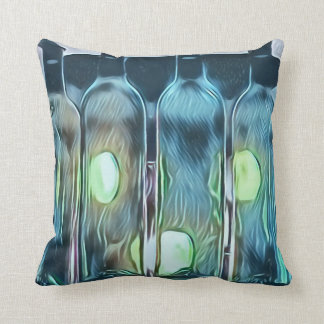 Uncommon Funky Blue Chic Artistic Wine Bottles Throw Pillow