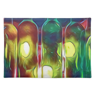Uncommon Funky Multi-Color  Artistic Wine Bottles Placemat