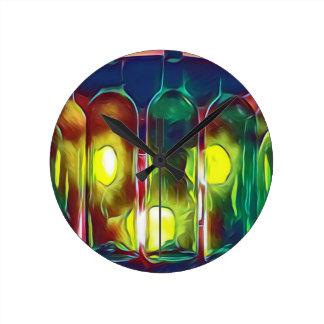 Uncommon Funky Multi-Color  Artistic Wine Bottles Round Clock
