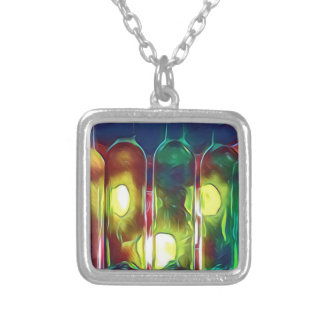 Uncommon Funky Multi-Color  Artistic Wine Bottles Silver Plated Necklace